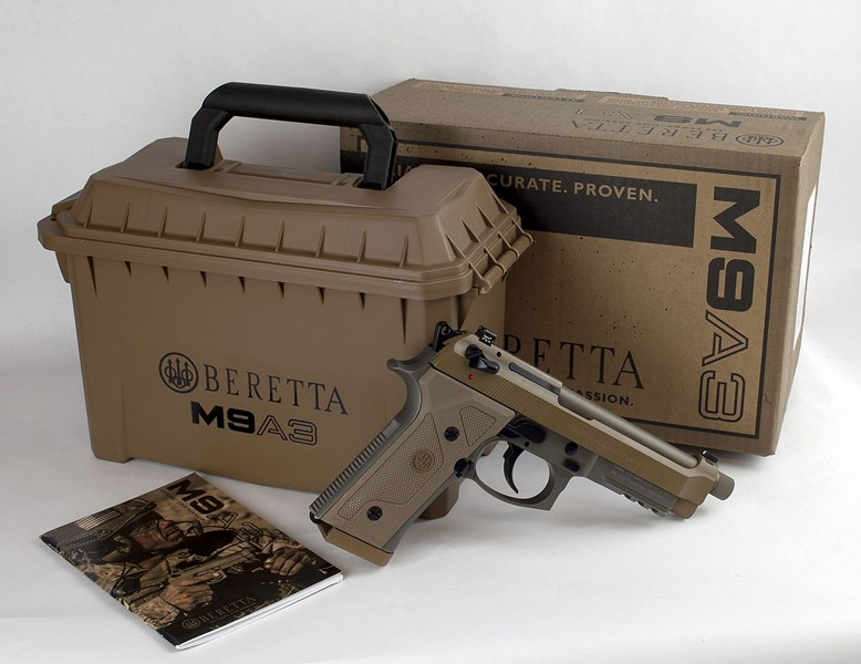 "BERETTA M9A3 FS 9MM 5.2"" NS 17-SHOT THREADED TAN ITALY"
