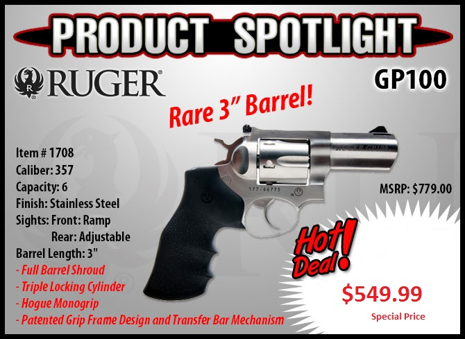Ruger GP 100 357 Magnum Stainless 3 inch Special