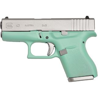 Glock 43 9mm Special Edition Satin Aluminum/ Robin Egg Blue